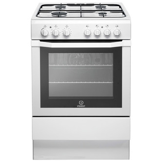 indesit i6gg1w 60cm single cavity gas cooker in white