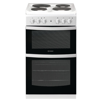 Indesit ID5E92KMW 50cm Twin Cavity Electric Cooker in White Solid Plat