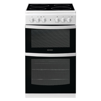 indesit id5v92kmw 50cm twin cavity electric cooker in white ceramic ho