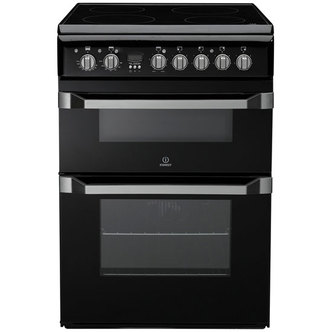 Indesit ID60C2KS 60cm Electric Cooker in Black Double Oven Ceramic Hob
