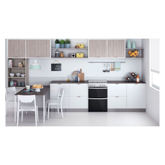 Indesit ID67G0MCWUK 60cm Gas Cooker in White Double Oven Gas Hob
