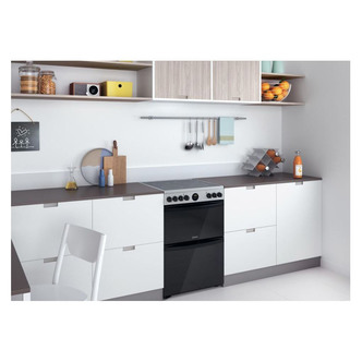 Indesit ID67V9HCXUK 60cm Electric Cooker in St St Double Oven Ceramic