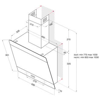 Image of Indesit IHVP66LMK 60cm Angled Hood in Black Glass
