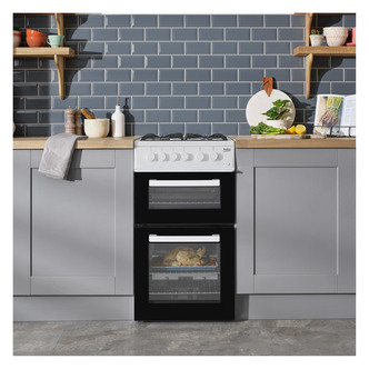 Image of Beko KDG581W 50cm Twin Cavity Gas Cooker in White FSD