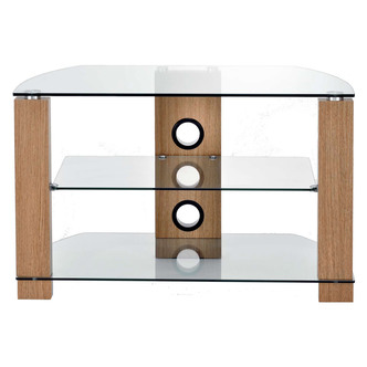 TTAP L630 800 3O Vision 800mm TV Stand in Light Oak with Clear Glass