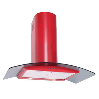 Luxair LA80 CVD RD 80cm CVD CURVED Glass Cooker Hood in Matt Red