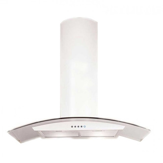 Luxair LA80 CVD WH 80cm CVD CURVED Glass Cooker Hood in Matt White
