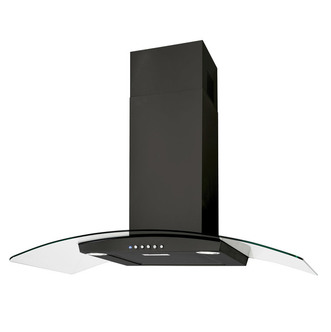 Luxair LA80 VAL BLK 80cm VALORE Curved Glass Cooker Hood in Matt Black