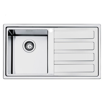 Smeg LD861D 2 87cm Mira Right Hand Drainer Low Profile Sink In St St