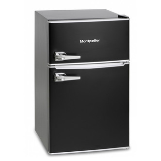 Montpellier MAB2030K Under Counter Retro Style Fridge Freezer in Black