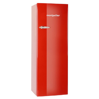 Montpellier MAB340R Retro Style Tall Fridge with Icebox in Red 1 76m A