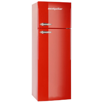 Montpellier MAB345R Retro Style Top Mount Fridge Freezer in Red 1 68m