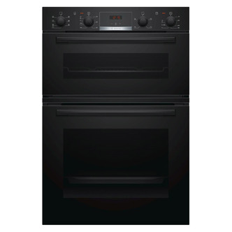 Image of Bosch MBS533BB0B Serie 4 Built In Hot Air Double Oven in Black