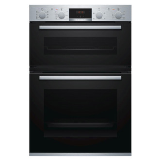 Image of Bosch MBS533BS0B Serie 4 Built In Hot Air Double Oven in Brushed Steel