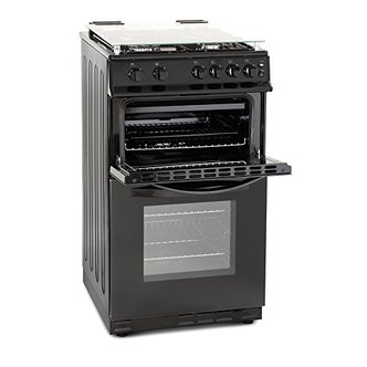 Image of Montpellier MDG500LK 50cm Gas Cooker in Black Double Oven FSD