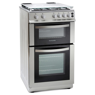 Image of Montpellier MDG500LS 50cm Gas Cooker in Silver Double Oven FSD