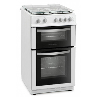 Image of Montpellier MDG500LW 50cm Gas Cooker in White Double Oven FSD