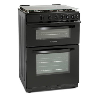 Image of Montpellier MDG600LK 60cm Gas Cooker in Black Double Oven FSD