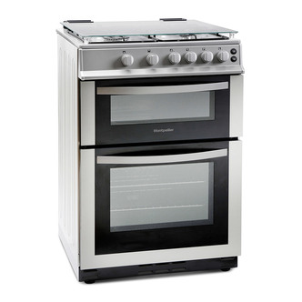 Image of Montpellier MDG600LS 60cm Gas Cooker in Silver Double Oven FSD