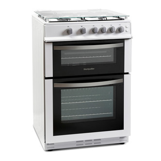 Image of Montpellier MDG600LW 60cm Gas Cooker in White Double Oven FSD