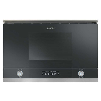 Smeg MP122N Built In Linea Microwave Oven with Grill Black Glass