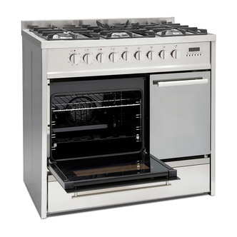 Image of Montpellier MRT91DFMX 90cm Double Cavity Dual Fuel Range Cooker in St
