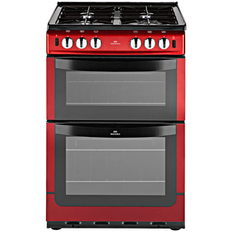 New World 444442190 60cm Dual Fuel Cooker in Metallic Red Double Oven