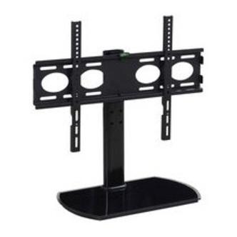 TTAP PED64S Black Glass Swivel Tabletop Pedestal TV Stand in Black