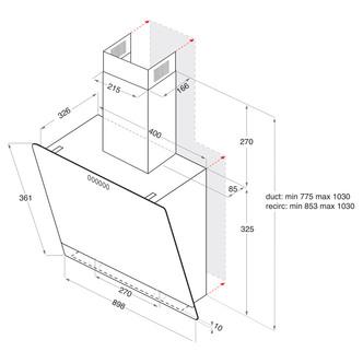 Image of Hotpoint PHVP87FLTK 80cm Angled Glass Chimney Hood in Black 3 Speed Fa