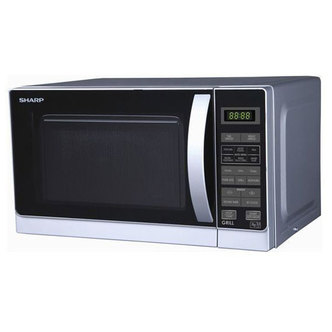Sharp R662SLM Compact Microwave Oven with Grill in Silver 20L 800W