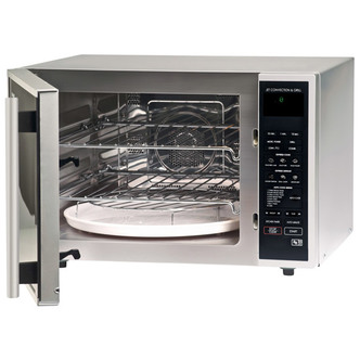 Sharp R959SLMAA Extra Large Combi Microwave Oven in Silver 900W 40L