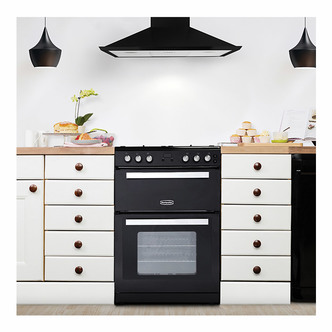 Image of Montpellier RMC61GOK 60cm Gas Cooker in Black Double Oven A Energy Rat