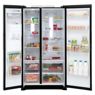 Samsung RS7667FHCBC American Fridge Freezer in Gloss Black Ice Water 1