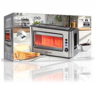 Daewoo SDA1060GE 2 Slice Transparent Glass Toaster in Silver