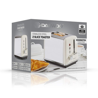 Daewoo SDA1582 Usage-220-240V, 50-60Hz, 680-810W-6 Browning Settings | Led Indicator | Cancel, Reheat, Defrost Removable Crumb Tray | Cord Storage | Anti-Jam Function, Cream 2 Slice Toaster