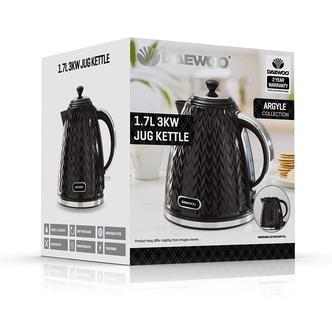 Daewoo SDA1773GE ARGYLE Cordless Jug Kettle Black 1 7L 3kW