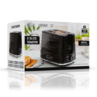 Daewoo SDA1774GE ARGYLE 2 Slice Patterned Toaster Black