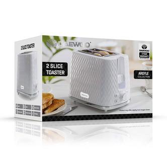 Daewoo SDA1781GE ARGYLE 2 Slice Patterned Toaster White