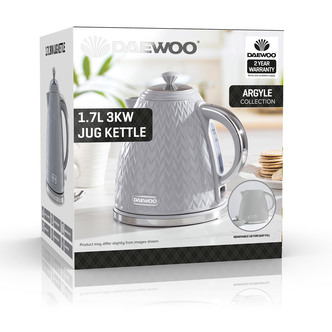 Daewoo SDA1820GE ARGYLE Cordless Jug Kettle Grey 1 7L 3kW