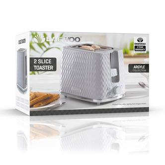 Daewoo SDA1821GE ARGYLE 2 Slice Patterned Toaster in Light Grey
