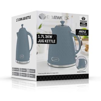 Daewoo SDA1822GE ARGYLE Cordless Jug Kettle Light Blue 1 7L 3kW