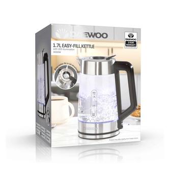 Daewoo SDA2102GE Easy Fill Illuminated Glass Kettle 1 7L 3kW