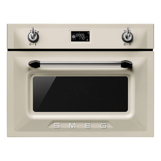 Image of Smeg SF4920MCP 45cm Victoria Built In Combination Microwave in Cream