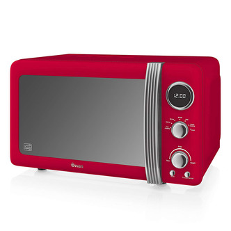 Swan SM22030RN Retro Style Microwave Oven in Red 20 Litre 800W
