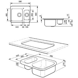 Smeg SRO3416 58cm Alba 1 5 Bowl Inset Sink in Stainless Steel