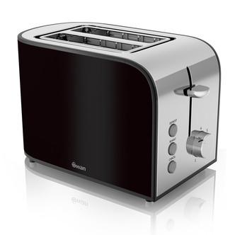 Swan ST17020BLKN 2 Slice Townhouse Toaster in Black Chrome