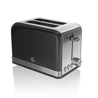 Swan ST19010BN 2 Slice Retro Style Toaster in Black Chrome