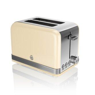 Swan ST19010CN 2 Slice Retro Style Toaster in Cream Chrome