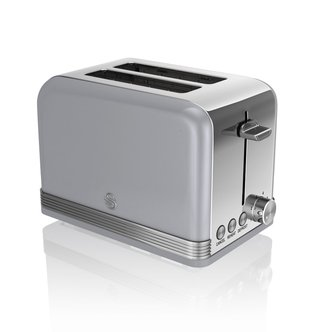 Swan ST19010GRN 2 Slice Retro Style Toaster in Grey Chrome