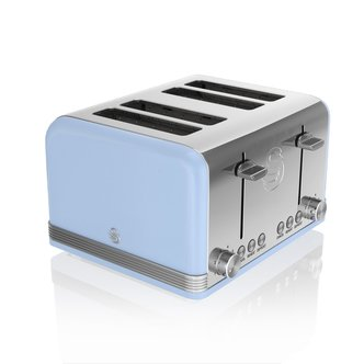 Swan ST19020BLN 4 Slice Retro Style Toaster in Blue Chrome